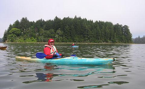 Kayaker Paddling In South Slough National Estuarine Research Reserve, Oregon