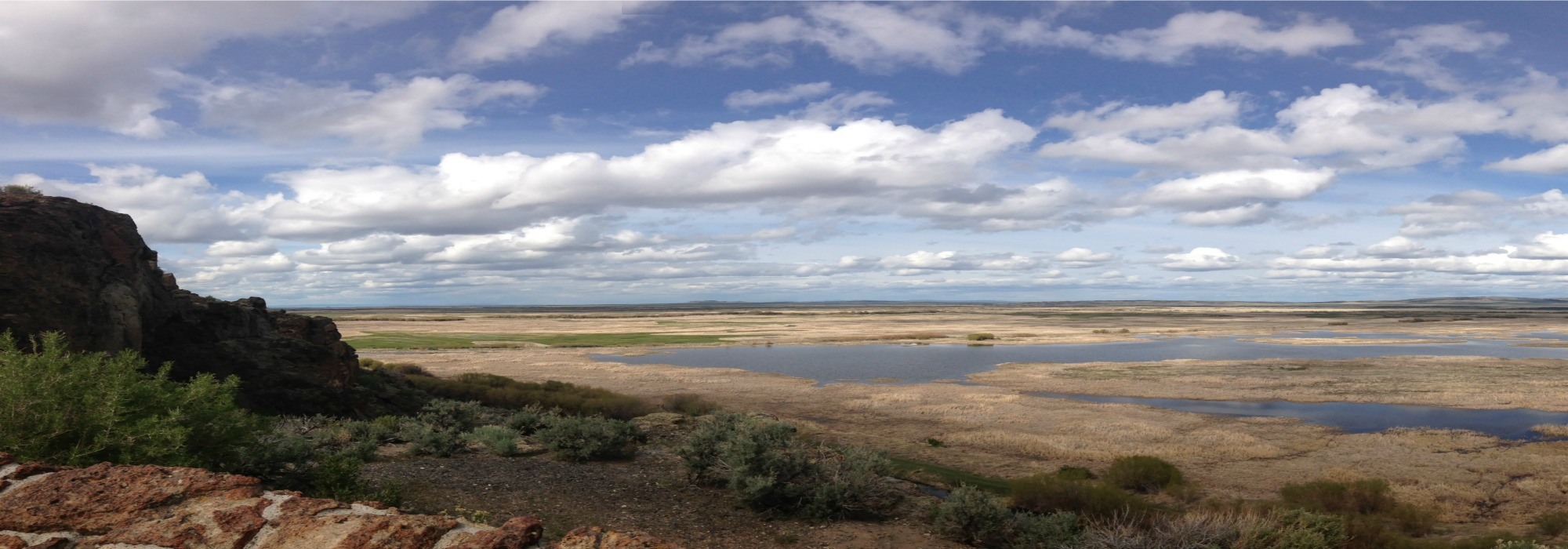 expansive view of desert lakes reflecting blue skies and billowing clouds