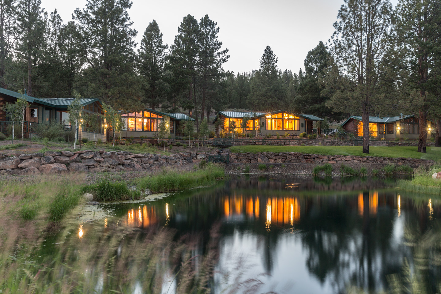 Luxury cabins on the pond at Silvies Valley Ranch