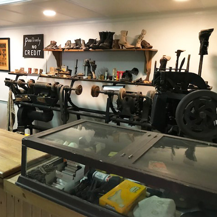 cobbler equipment on display at museum