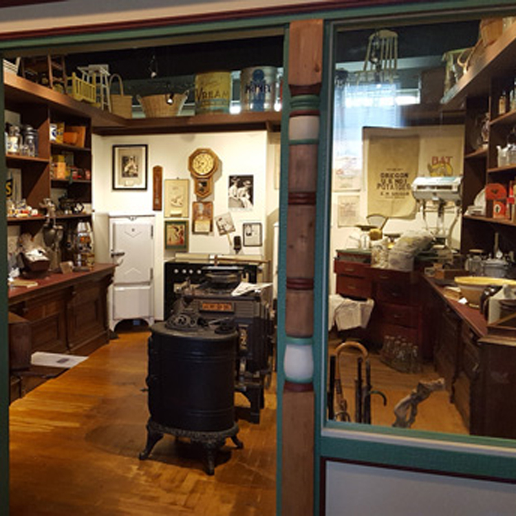 museum display of historic general store items