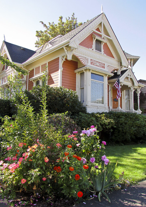 Exterior ornate historic house on sunny day