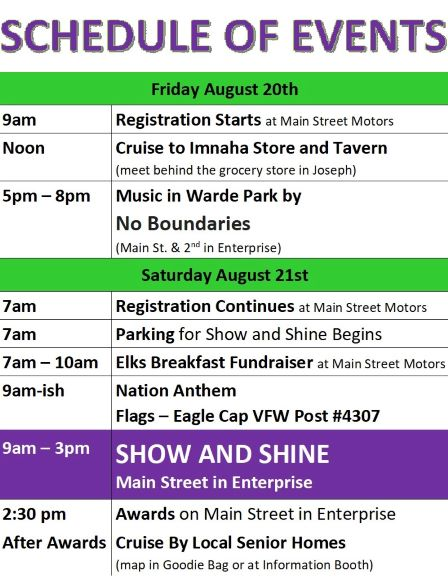Schedule of events for the 7th Annual Main Street Show & Shine