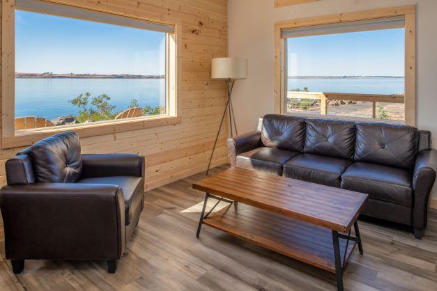 River Lodge cabin seating window vuew