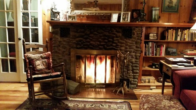 Cozy up by the fireplace during your stay at Willow Creek Horse BnB