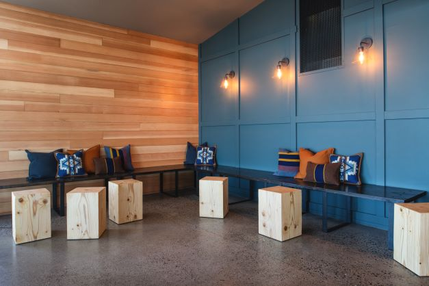 bench seating at Two Barrels Taps + Grill