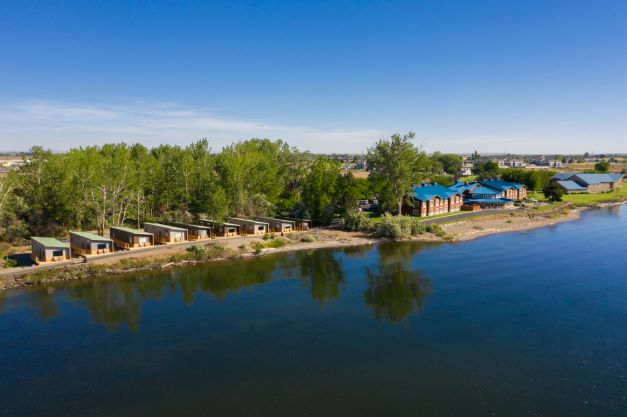 aerial view of the River Lodge + Cabins