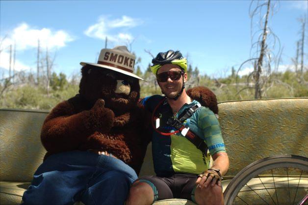 Cory Wallace, winner of the 120 race- 3x Solo World Champion & Smokey the Bear!