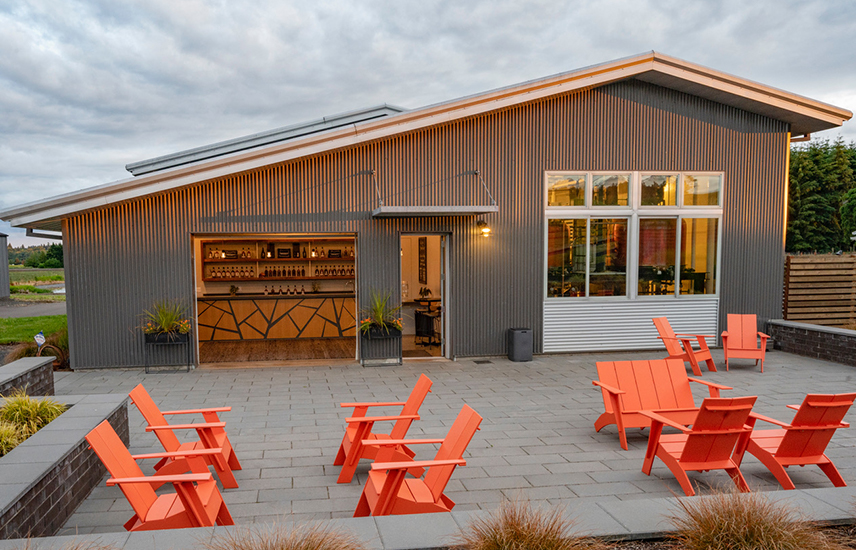 The outdoor patio at Branch Point Distillery
