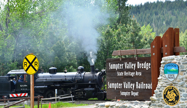 Sumpter VAlley Railroad Arriving at the Sumpter Depot