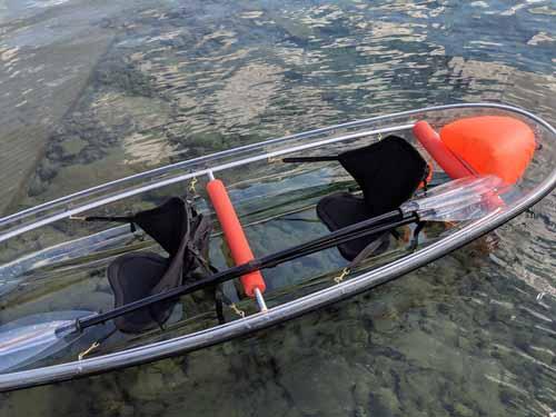 Close up on Glass Bottom Kayak